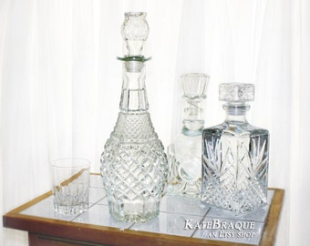 Decanters with Original Stoppers in excellent condition Set of 3 Bar Decanters