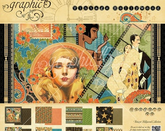NEW! Graphic 45 Vintage Hollywood 8x8 Paper Pad, SC007706