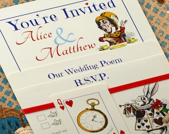 Alice In Wonderland Vintage Style Handmade Wedding Invitation Bundle    Ivory Card Set   Personalised Various