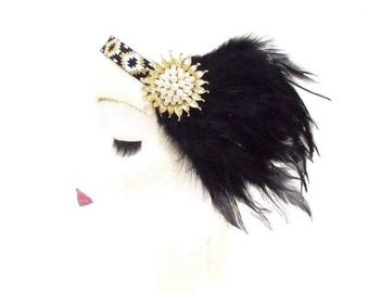 Black White Gold Feather Headband 1920s Flapper Headpiece Great Gatsby Vtg 2794