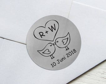 SIiver Foil Personalized Wedding Candy wrappers/ stickers for Favors / envelope seals #L