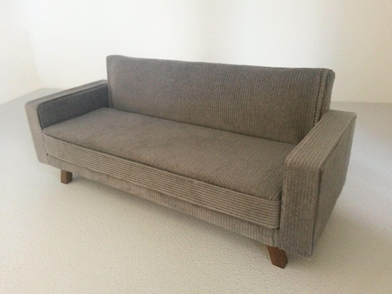 modern dollhouse grey cord sofa 1 12 scale. Black Bedroom Furniture Sets. Home Design Ideas