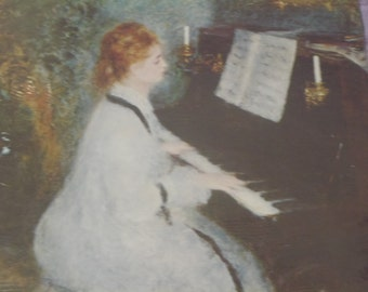 circa 1940's Vintage Lithograph Pierre Auguste Renoir The Lady  at the Piano 20 x 16