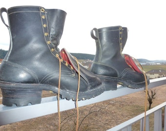 ANSI boots hathorn boot MFG spokane, wa real leather exceptional brutal single model