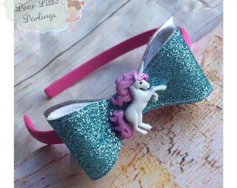 Unicorn Glitter Headband, Glitter Bow, Unicorn Alice Band, Girl's Headband