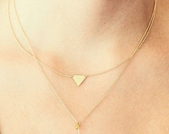 Dainty Triangle Necklace /14k Gold Fill Necklace / Geometric Necklace / Minimal Gold Necklace / Golden Triangle