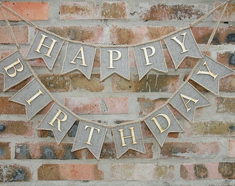 Happy Birthday Banner, Happy Birthday Burlap Banner, Birthday Photo Prop, Happy Birthday Sign, Birthday Decorations, Personalized Banner