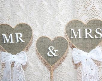 rustic cake topper, Mr & Mrs Cake Topper, wedding cake topper rustic, Burlap Cake Topper, country burlap cake topper, burlap topper