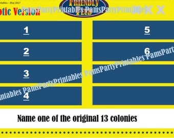 Patriotic, 4th of July Friendly Feud, Memorial Day Friendly Feud GAME ONE- Family Feud - Interactive PowerPoint Game -   Family Friendly