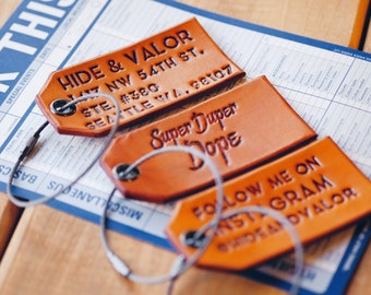 Custom Leather Luggage Tags w Black Metal Cable & Grommet - Saddle Tan Color - Unique Font - Burnished Edges - Great As Unique Gifts/Favors