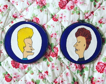 Beavis and Butthead Painted Embroidery