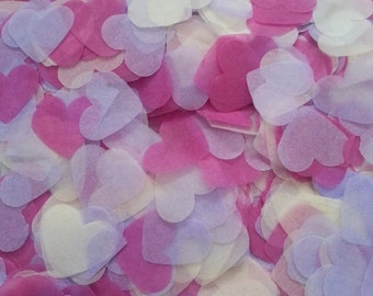 1500 pieces handmade biodegradable wedding confetti- hot pink, lilac  & white