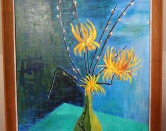 Vtg 50s Mid Century Modern Still Life Framed Oil Painting Floral Signed C Murphy