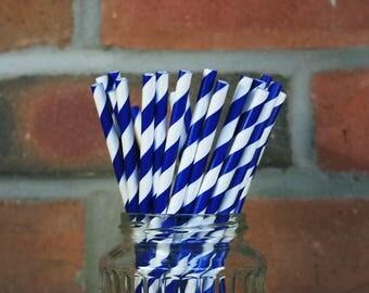 Navy and White Stripe Straws - Set of 25 -  Paper Party Straws - Birthday Party Decor - White and Navy Theme Decor - Wedding Paper Straws