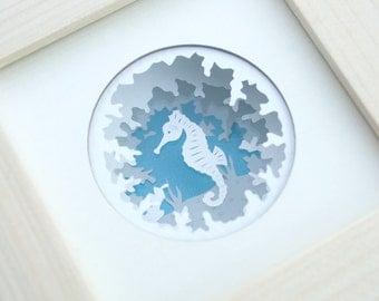 Seahorse paper cut, seahorse shadow box, seahorse paper art, 3D seahorse papercut, mini seahorse frame