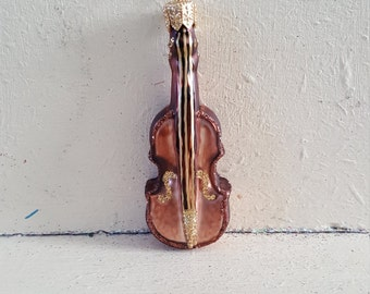 Blown Glass Cello or Violin Christmas Ornament made in Poland