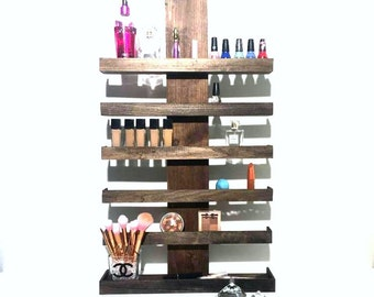 Wall Mounted Makeup Organizer, Makeup Storage, Nail Polish Shelf, Cosmetic Display, Gifts for Her, Stylist Gift, Wall Shelf, Makeup Vanity