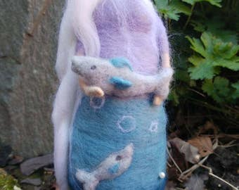 Needle felted Pisces sculpture. Waldorf inspired doll. Zodiac sculpture. Zodiac doll. Waldorf inspired doll. Needle felt doll.