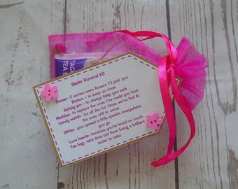 Sister Survival Kit novelty personalised gift - birthday - sisterly love - someone special - keepsake -personalised on request