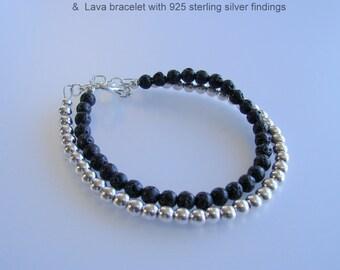 Stacking Bracelet, 925 Sterling Silver Bracelet, thin Sterling Bracelet, Lava Bracelet, Oil Diffuser  Skinny Bracelet Size is customizable.