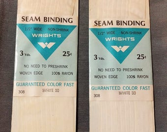 Vintage Wrights Seam Binding White 30 Vintage Sewing Supply