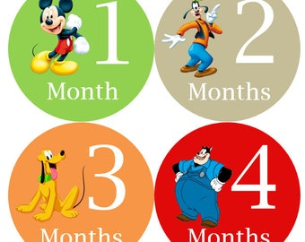Monthly Stickers Boy, Milestone Stickers, Month Stickers, Baby Month Stickers, Baby Stickers, Mickey Mouse #147
