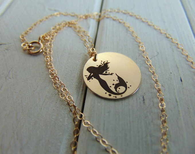 Mermaid Necklace with your name engraved in front. Personalize Custom Necklace available in y. gold, r. gold, St. Silver.