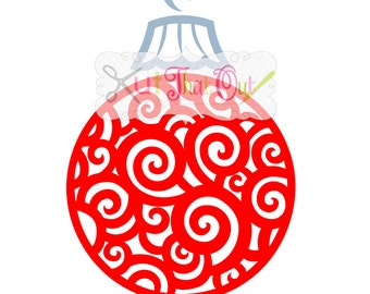 EXCLUSIVE Swirl Scroll Christmas Ornament SVG and DXF File
