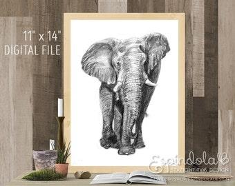 "11"" x 14"" Digital Art Print | Elephant Illustration"
