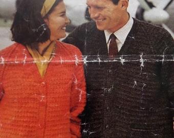 """Knitting Pattern Women Ladies Men Cardigan V Neck 34-44"""" Vintage"""