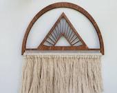 "Macrame Wall Hanging, Woven Wall hanging, Wood Art, Fiber Art ""Universe"""