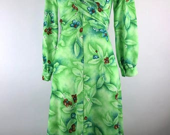 Vtg Hawaiian Dress Maxi Green floral Long Sleeve tiki luau party 1970s Polyester
