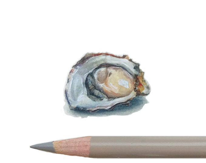 Original Miniature painting of an Oyster on The half Shell. Tiny painting, Oyster  tiny art 5 x 5