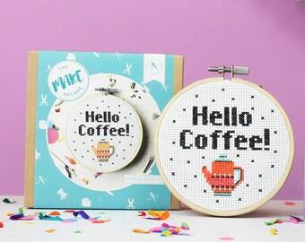 Hello coffee, cross stitch kit, modern cross stitch, cross stitch pattern, gifts for her, coffee lover- cross stitch kit- funny gifts