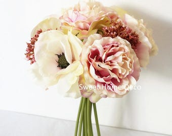 JennysFlower Shop 10'' Blooming Peony and Anemone Silk Artificial Wedding Bridal Bouquet/ Home Flower(Pink/Cream)