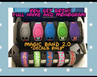 Magic Band 2.0 Decal - monogram & Name decal- full name decal-  Name magic band decal -Family decals - easter basket stuffer READ details -