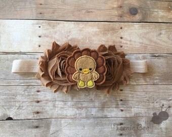 Brown Turkey Headband - Shabby Flower Headband - Thanksgiving Headband - Fall Headband - baby headband