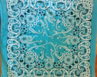"""90s turquoise blue bandana 100% cotton wamcraft made in USA""""Crafted with pride in America"""""""
