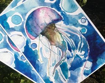 Lapis Flow   Moon Doobie Jellyfish Series   Water Color Painting   8x11 Signed Print