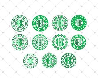 St. Patrick's Day svg, Patricks Day Monogram Frames SVG, Circle Monogram Frames SVG Cut Files for Cricut and Silhouette, svg files