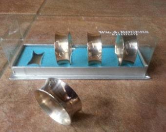Vintage Wm. A. Rogers Silverplate Napkin Ring, Set of Four, Original Box, Simple Yet Elegant Design
