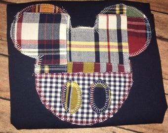 Custom plaid button patch mickey