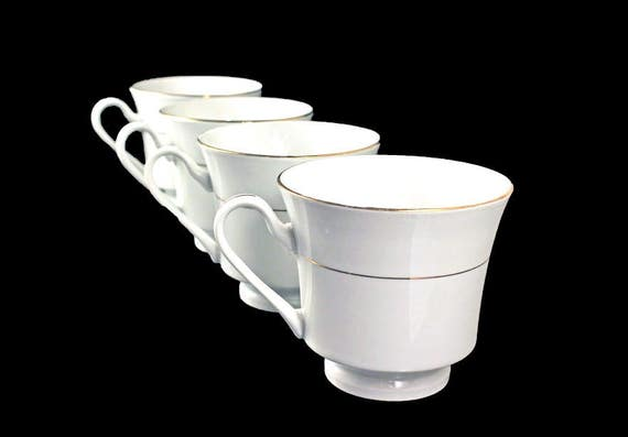 Teacups, Potter & Smith, White and Gold, New In Box, Set of 4, Fine China