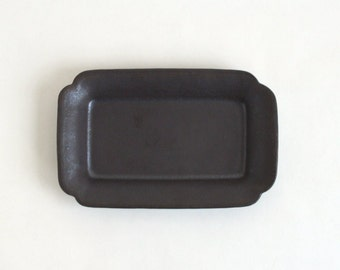 Rectangular Plate S (Black mat), Made to Order for 2 months, Awabi ware (14004016-SKM)