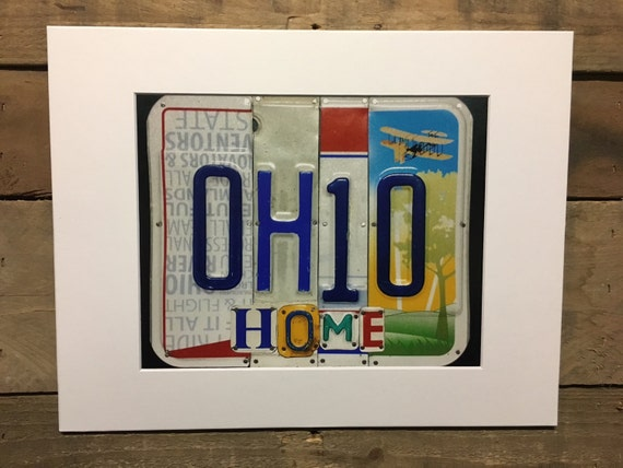 Ohio Home License Plate Art Print 8 x 10 photo in 11 x 14 mat - Ohio Home matted print