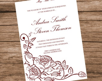 Printable Wedding Invitation Template, Burgundy Roses Invitation Card, INSTANT DOWNLOAD, Editable Text & Colors, 5x7