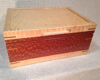 Large Lacewood and Tiger Maple Jewelry Box