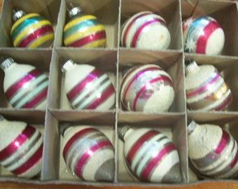 Twelve Mica Shiny Brite Christmas Ornaments