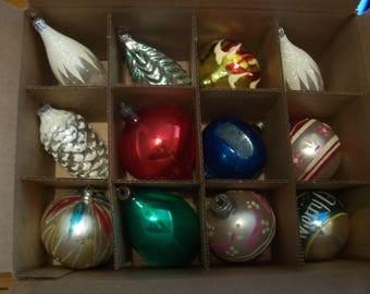 Twelve Assorted Christmas Ornaments Germany