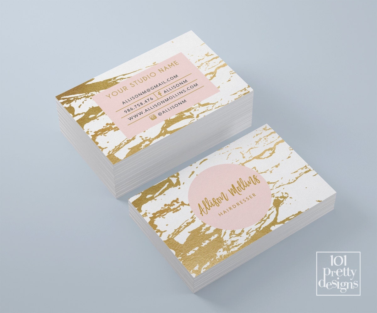 Marble business card white and gold business card gold foil